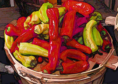 Hot Peppers In A Basket Print by Elaine Plesser