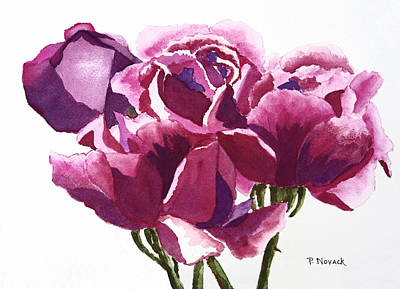 Hot Pink Roses Print by Patricia Novack