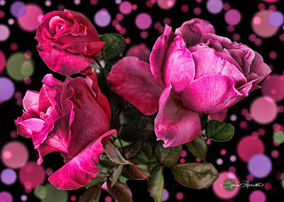 Hot Pink Trio Print by Sylvia Thornton