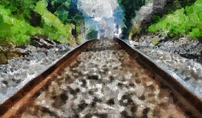 Depression Mixed Media - Hot Railroad Tracks Summer Day by Dan Sproul