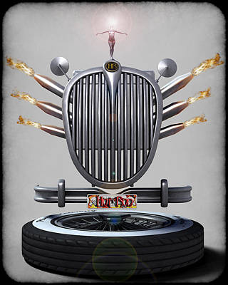 Hot Rod Crest Print by Frederico Borges