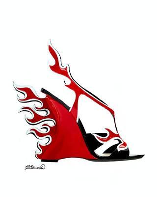 Woman Digital Art - Hot Shoe by Cindy Edwards