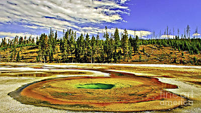 Montana Digital Art - Prismatic Geyser Yellowstone National Park by Bob and Nadine Johnston