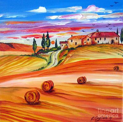 Italy Farmhouse Painting - Hot Summer Tuscany Sunset by Roberto Gagliardi
