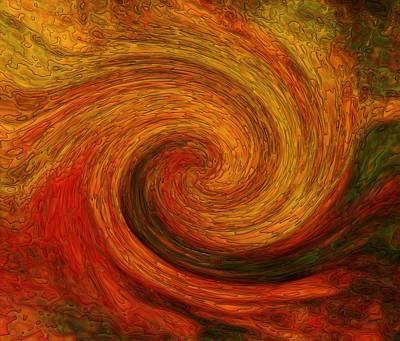 Red Digital Art - Hot Swirl by Lilia D