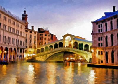 Waterscape Mixed Media - Hot Venetian Nights by Georgiana Romanovna