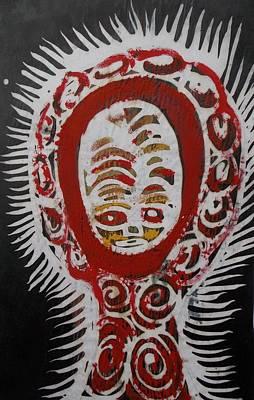 Hot Wax Painting - Hot Wax Decorated Painted Mask. by Okunade Olubayo