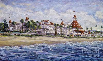 Famous Acrylic Landscape Painting - Hotel Del Beach by Glenn McNary