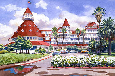 Coast Painting - Hotel Del Coronado After Rain by Mary Helmreich