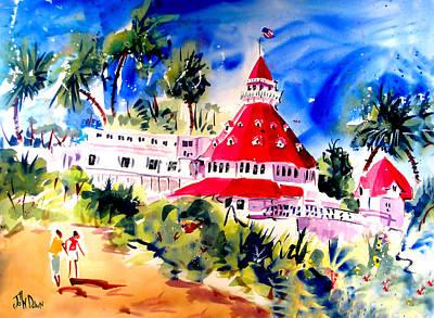 Hotel Del Coronado Painting - Hotel Del Coronado by John Dunn