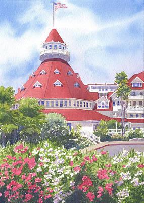 Hotel Del Coronado Painting - Hotel Del Coronado Palm Trees by Mary Helmreich