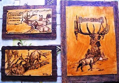 Hotel Elk-elk Wood Pyrography Print by Egri George-Christian