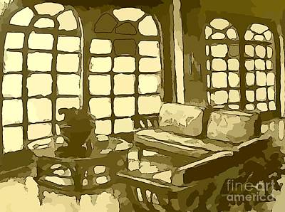 Glass Table Reflection Mixed Media - Hotel Lobby In Yellow by John Malone