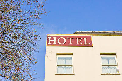 Window Signs Photograph - Hotel by Tom Gowanlock