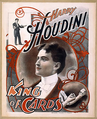 Houdini King Of Cards  1895 Print by Daniel Hagerman