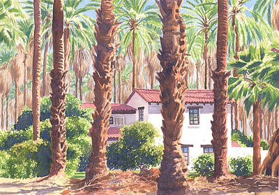 Palm Springs Painting - House Among Date Palms In Indio by Mary Helmreich