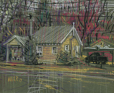 Truck Drawing - House At The Corner by Donald Maier
