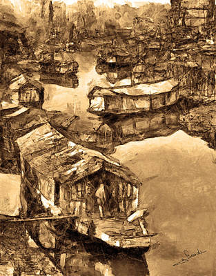 Thai Drawing - House Boat by George Rossidis