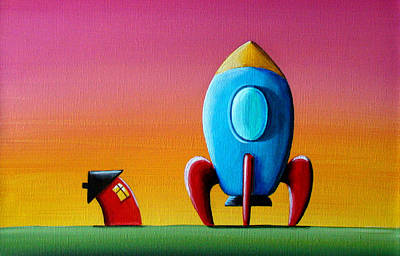 Outer Space Painting - House Builds A Rocketship by Cindy Thornton