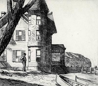 Coastal Drawing - House By A River by Edward Hopper