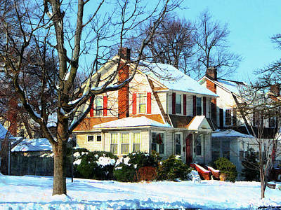 House Down The Street In Winter Print by Susan Savad