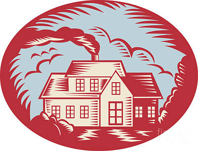 House Digital Art - House Homestead Cottage Woodcut by Aloysius Patrimonio