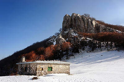 House In Mountain With Snow In Winter Print by Mikel Martinez de Osaba