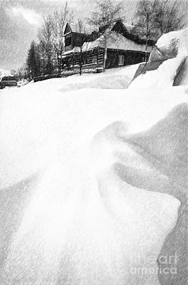 House In Snow Print by Rod McLean