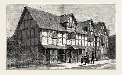Stratford Drawing - House In Which Shakespeare Was Born As Now Restored by English School
