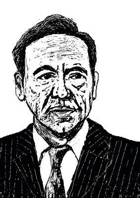Portraiture Drawing - House Of Cards Kevin Spacey by Paul Sutcliffe