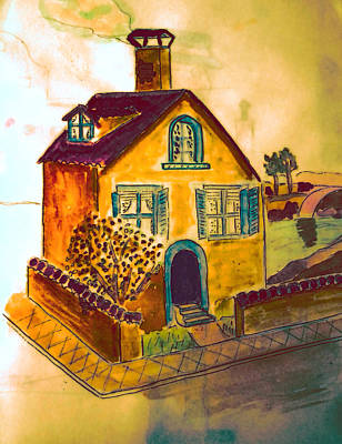 Neighbourhoods Painting - House On The Corner by Jo Ann