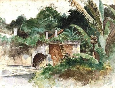 Banana Tree Painting - House Ruin In Jungle by Pg Reproductions