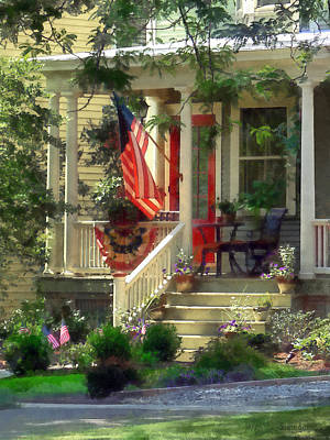 House With Bunting And Flag Print by Susan Savad