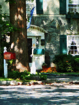 Mailbox Photograph - House With Turquoise Shutters by Susan Savad