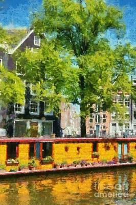Tree Painting - Houseboat In Amsterdam by George Atsametakis