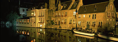 Rooftop Photograph - Houses At The Waterfront, Bruges by Panoramic Images