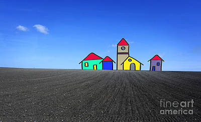 Digital Altered Photograph - Houses. Field Concept by Bernard Jaubert
