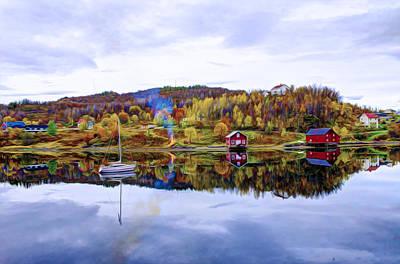 Norwegian Fishing Village Painting - Houses In Norway by Lanjee Chee