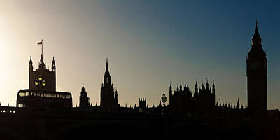 Bus Photograph - Houses Of Parliament Skyline In Silhouette by Susan Schmitz
