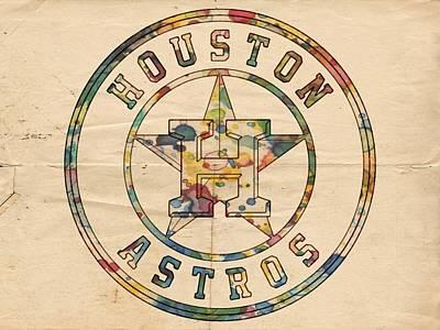 Astros Digital Art - Houston Astros Logo Art by Florian Rodarte