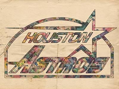 Astros Painting - Houston Astros Vintage Art by Florian Rodarte