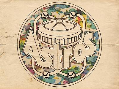 Astros Painting - Houston Astros Vintage Poster by Florian Rodarte