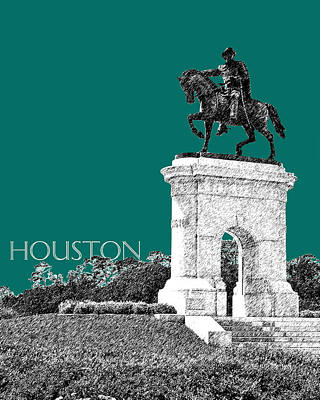 Houston Sam Houston Monument - Sea Green Print by DB Artist