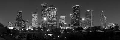 Houston Skyline At Night Black And White Bw Print by Jon Holiday