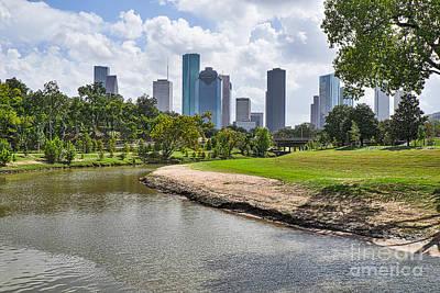 Texas Cities Photograph - Houston Skyline On The Bayou by Tod and Cynthia Grubbs