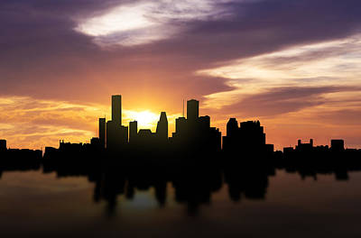 Reflections Mixed Media - Houston Sunset Skyline  by Aged Pixel