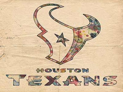 Watercolor Painting - Houston Texans Poster Vintage by Florian Rodarte