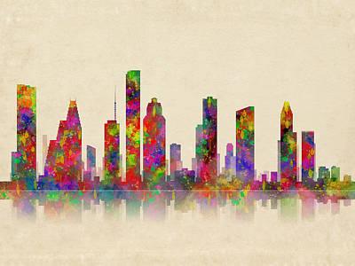 Astros Digital Art - Houston Texas Skyline by Daniel Hagerman