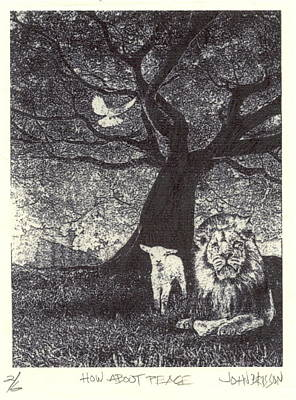 Copper Plate Etching Drawing - How About Peace by John Brisson