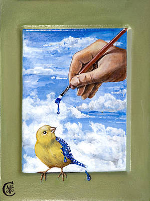Egg Tempera Painting - How God Made Bluebirds by Ann Marie Campbell